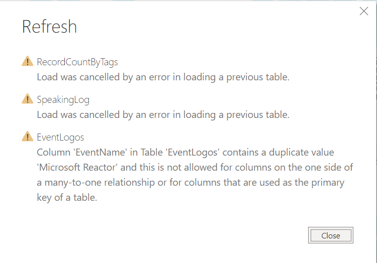 PowerBI Refresh error